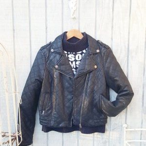 Aeropostale Quilted Leather Look Motorcycle Jacket